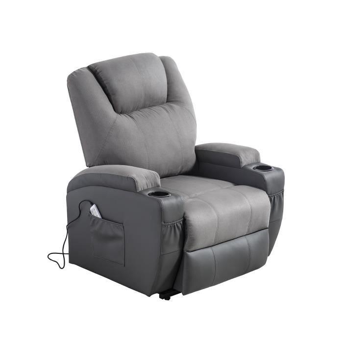 Fauteuil releveur de relaxation CINEA - Simili gris et tissu gris - Massant chauffant - Moteur électrique et lift releveur