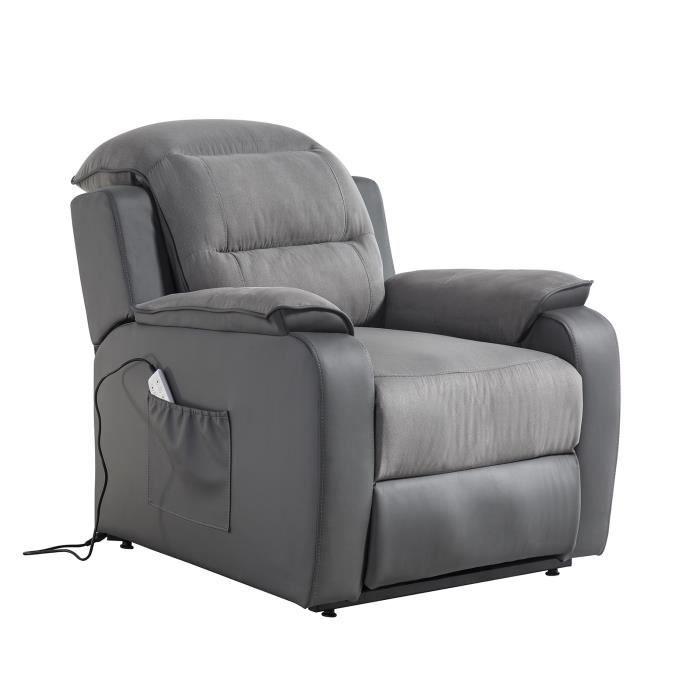 Fauteuil releveur de relaxation CALM - Simili gris et tissu gris - Massant chauffant - Moteur électrique et lift releveur