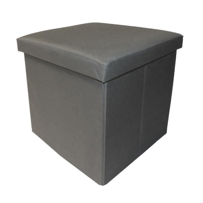 COTTON WOOD Pouf Coffre pliable Oxford - 35 x 35 x 35 cm - Gris