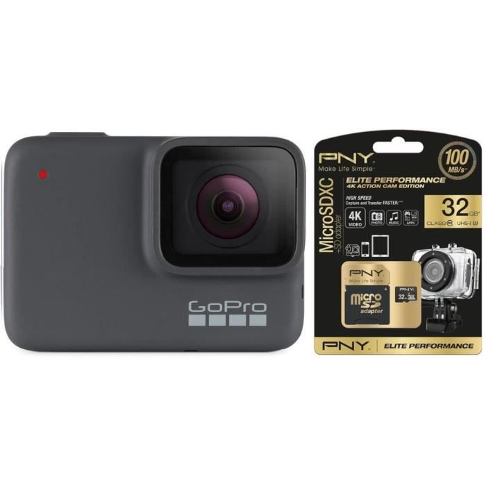 GOPRO HERO7 Argent + Carte PNY Elite 32 Go