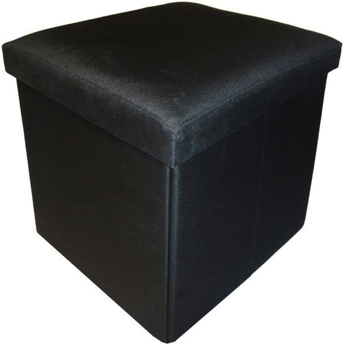 COTTON WOOD Pouf Coffre pliable Oxford - 35 x 35 x 35 cm - Noir