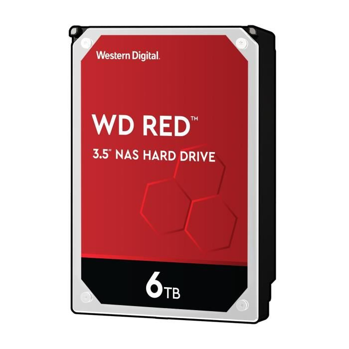 WD Red™ - Disque dur Interne NAS - 6To - 5 400 tr/min - Cache 64 MB- 3.5- (WD60EFRX)