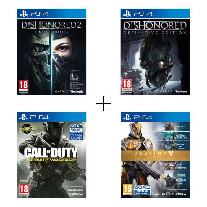 Pack de 4 jeux PS4 : Dishonored 2 + Dishonored Definitive Edition + Call of Duty : Infinite Warfare + Destiny : La Collection