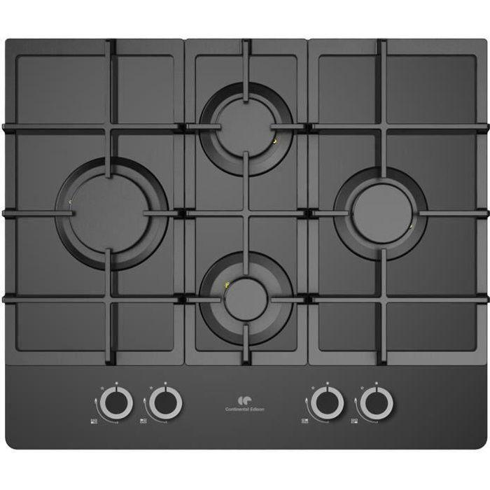 CONTINENTAL EDISON CECTG4GFVB Plaque de cuisson Gaz - 4 foyers - L60cm - Noir