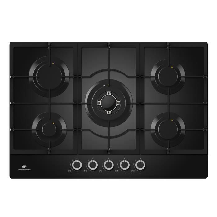 CONTINENTAL EDISON CECTG5GFVB Plaque de cuisson gaz - 5 foyers - L 75 cm x H 9 cm x P 51 cm - Noir