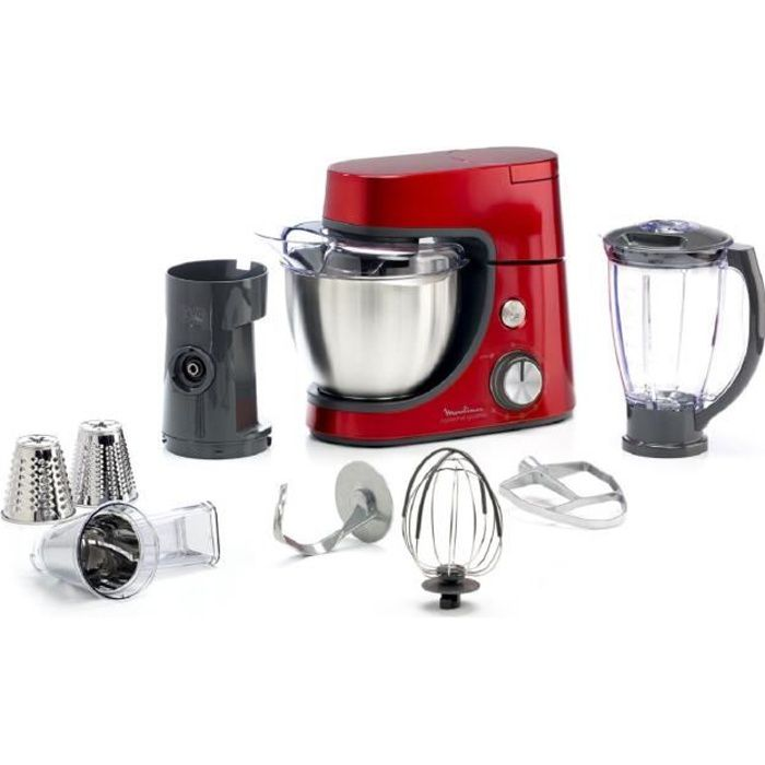 MOULINEX QA512G10 Robot pâtissier MGC + 2 accessoires - Rouge