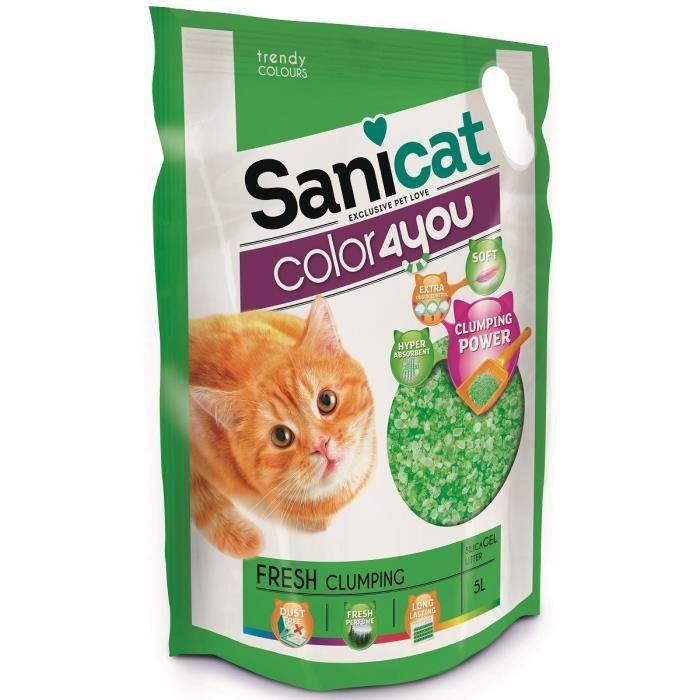 SANICAT Litière agglomérante au parfum frais 5L - Verte - Pour chat
