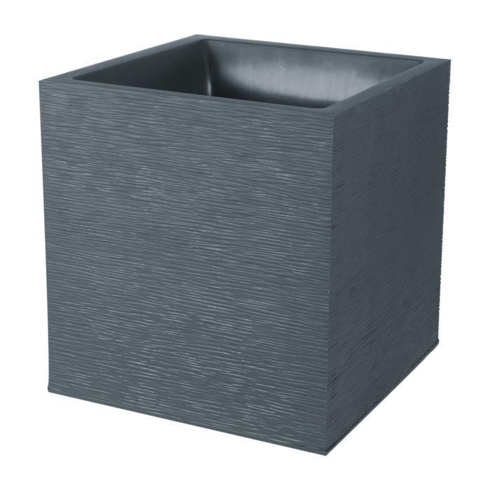 EDA Pot carré Graphit - 39 x 39 x 43 cm - 35 L - Gris anthracite