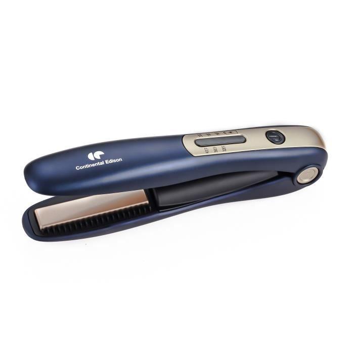 CONTINENTAL EDISON Mini fer à lisser rechargeable USB - 200˚C - Ecran LED - Bleu et Or