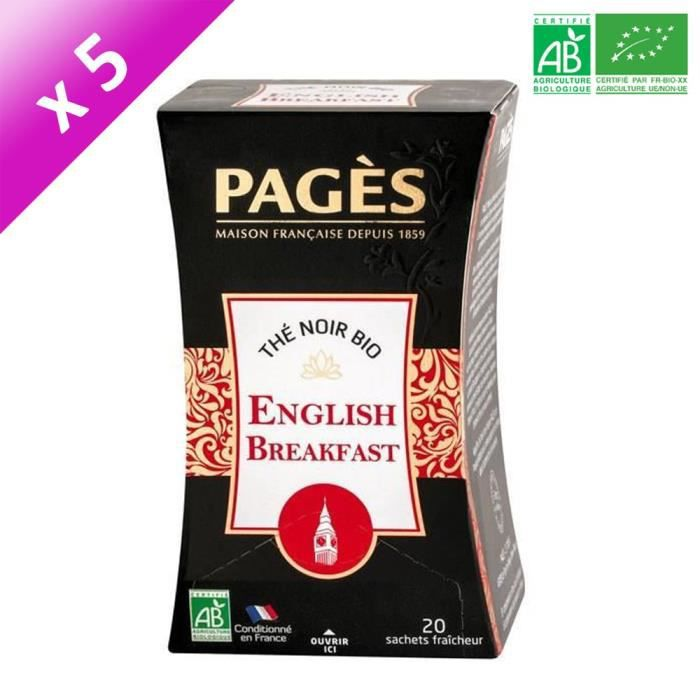 [LOT DE 5] PAGES Thé Noir English Breakfast - Bio