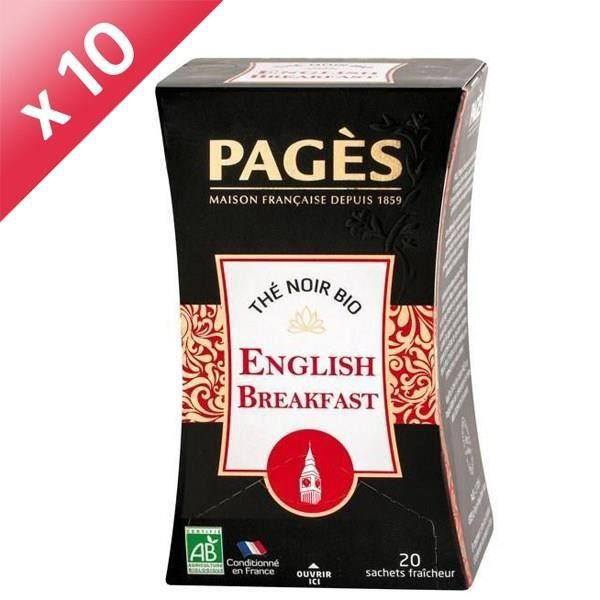 PAGES Lot de 10 Thés Noir English Breakfast Bio