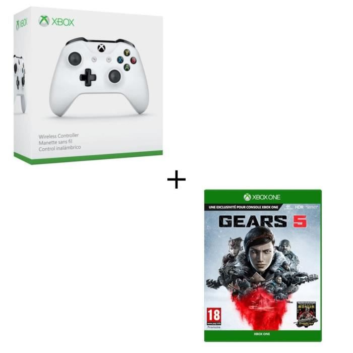 Manette sans fil Xbox One blanche compatible PC + Jeu Xbox One Gears 5