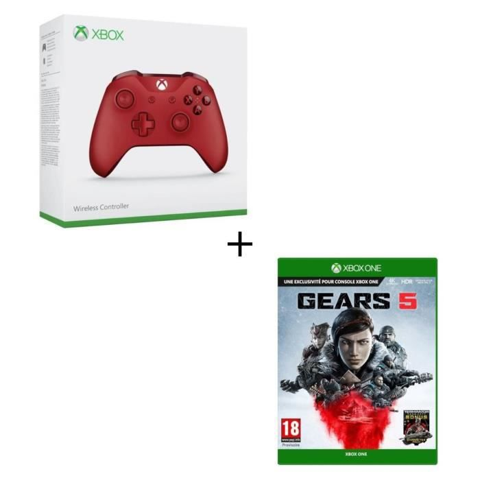 Manette Xbox One Sans Fil Rouge + Jeu Xbox One Gears 5