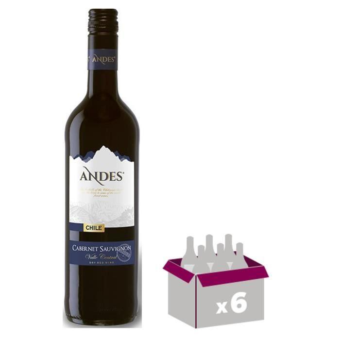 ANDES Cabernet Sauvignon Vin du Chili - Rouge - 75 cl x 6