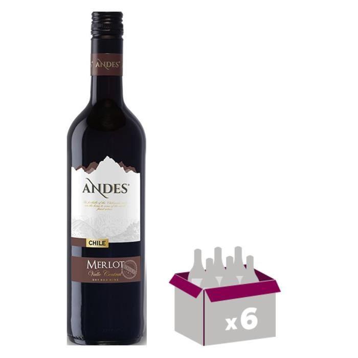 ANDES Merlot Vin du Chili - Rouge - 75 cl x 6