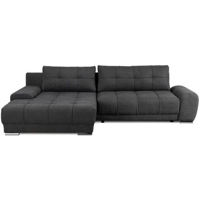 Canapé d'angle gauche 4 places convertible + coffre et coussin déco - Tissu gris anthracite - L281 x P 189 cm - WAVE
