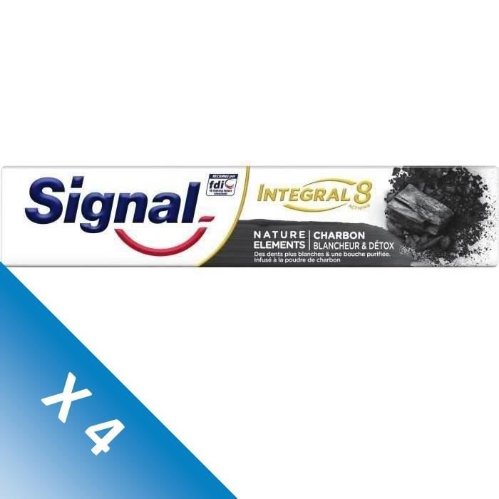 Signal Lot de 4 Dentifrices Natural Elements Charbon (75 mL x4)