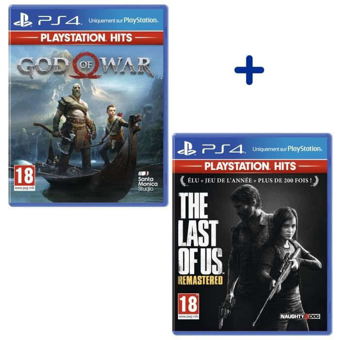Pack 2 Jeux PlayStation Hits : The Last of Us Remastered + God Of War
