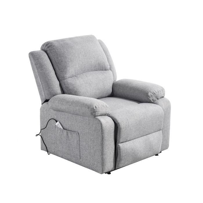 Fauteuil releveur de relaxation RELAX - Tissu gris chiné - Massant chauffant - Moteur électrique et lift releveur