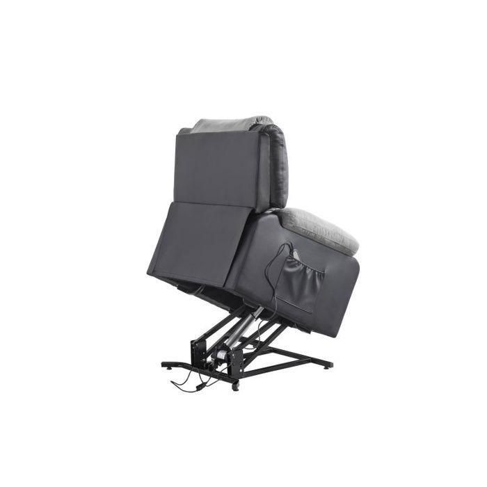 Fauteuil de relaxation releveur RELAX - Simili noir et tissu gris - Moteur électrique et lift releveur