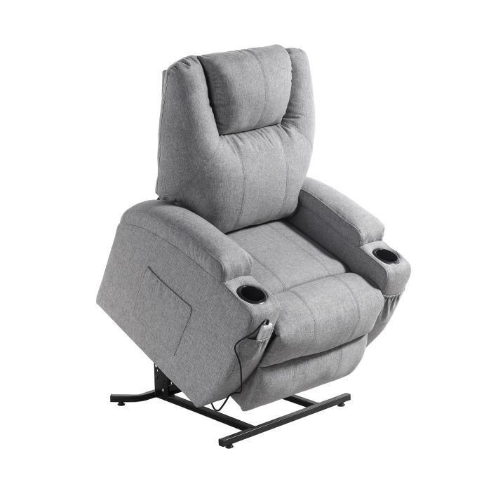 Fauteuil releveur de relaxation CINEA - Tissu gris chiné - Massant chauffant - Moteur électrique et lift releveur