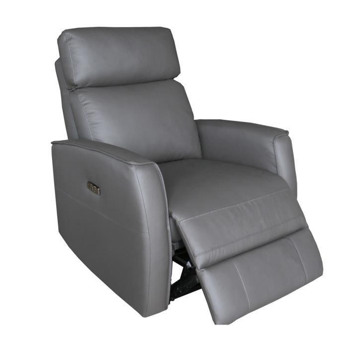 CAPEL Fauteuil de Relaxation 1 place relax électrique - Cuir gris foncé - L 84 x P 96 x H 104 cm