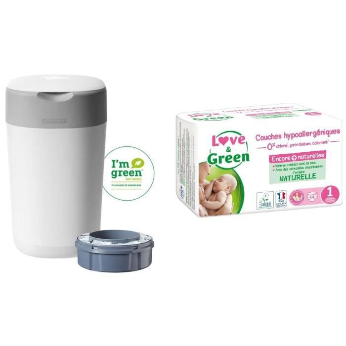 TOMMEE TIPPEE, LOVE & GREEN Lot poubelle à couches twist & click + Couches Taille Naissance - T1 x 44 (2-5 kg)