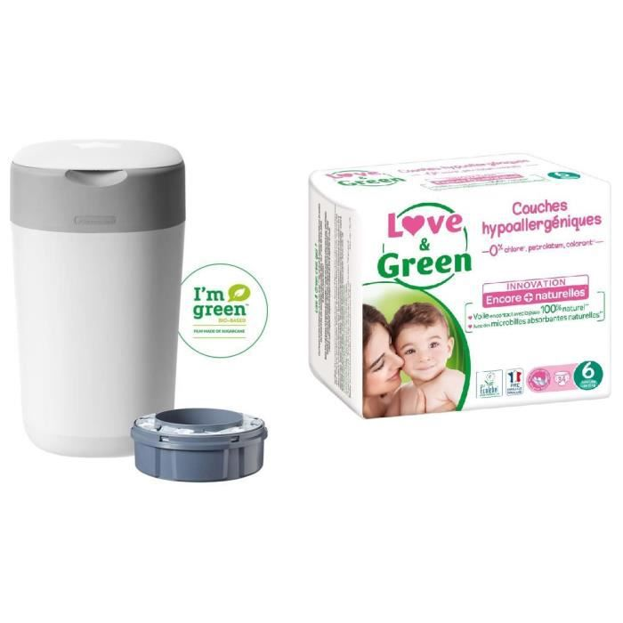 TOMMEE TIPPEE, LOVE & GREEN Lot poubelle à couches twist & click + Couches Taille 6 x34 (>16 kg)
