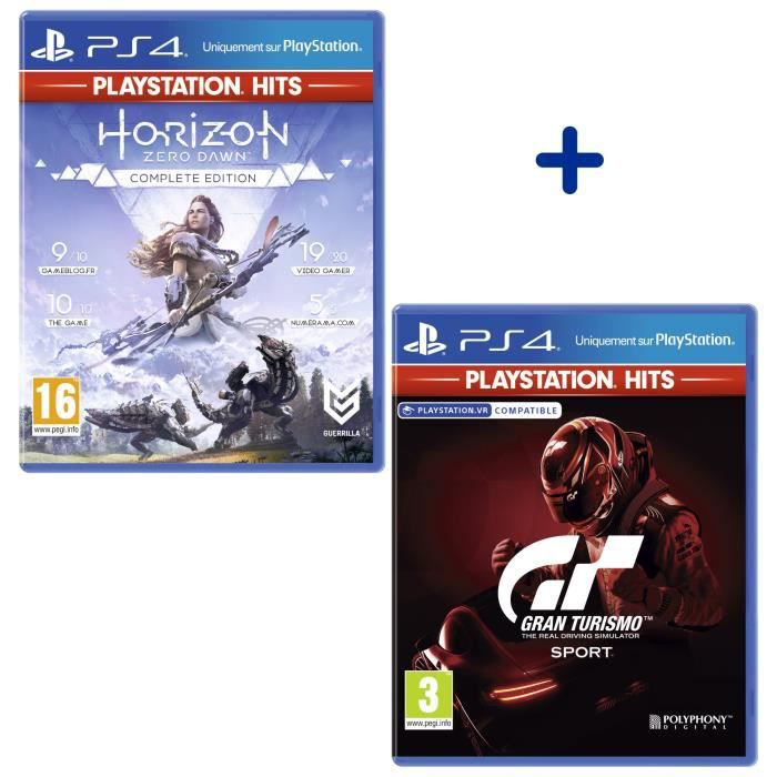 Pack 2 Jeux PS4 PlayStation Hits : Horizon Zero Dawn Complete Edition + GT Sport