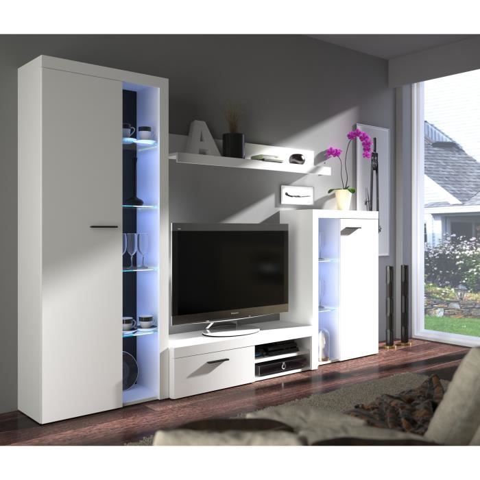 RUMBA Meuble TV contemporain blanc mat - L 120 cm