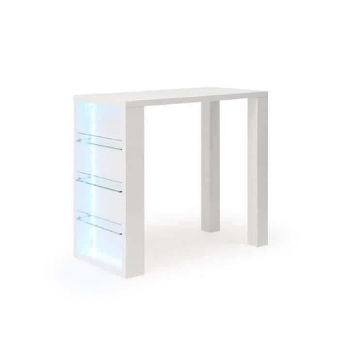 FLASH Table bar avec LED de 4 à 6 personnes style contemporain blanc laqué brillant - L 120 x l 60 cm