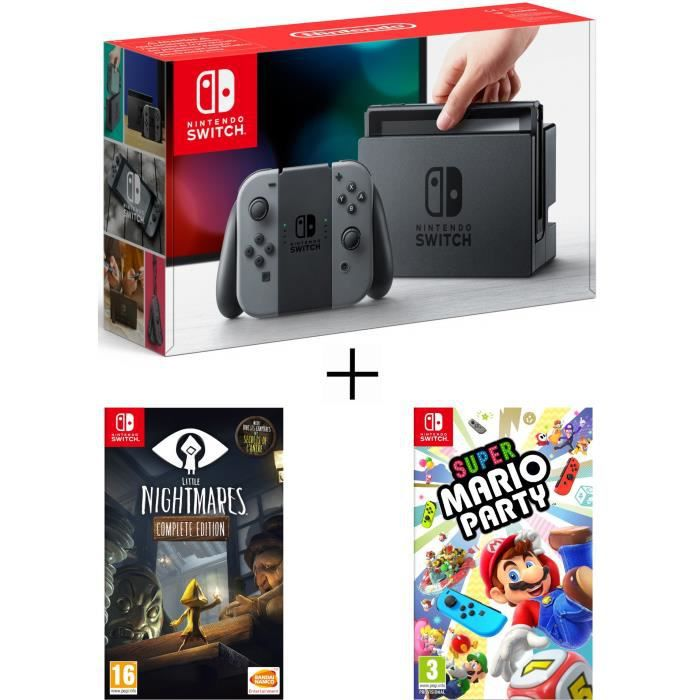 Pack nintendo switch grise little nightmares super mario party