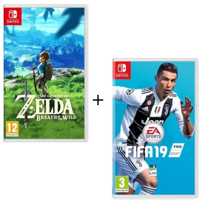 Pack 2 jeux Switch : The Legend of Zelda : Breath of the Wild + FIFA 19