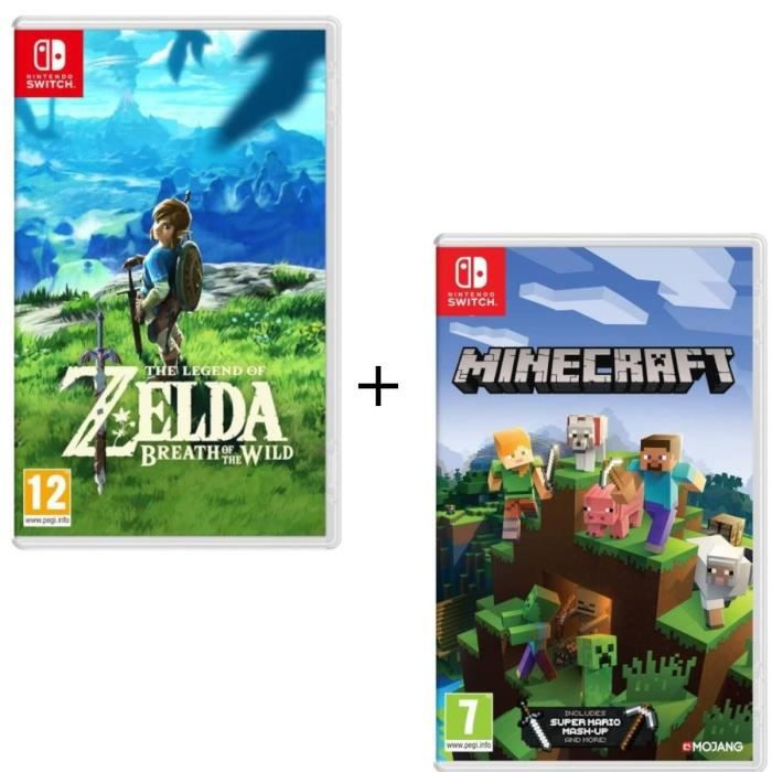 Pack 2 jeux Switch : The Legend of Zelda : Breath of the Wild + Minecraft