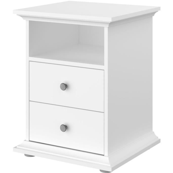 PARISOT Chevet 2 tiroirs Blanc - L 45 x P 41 x H 58 cm - MANON