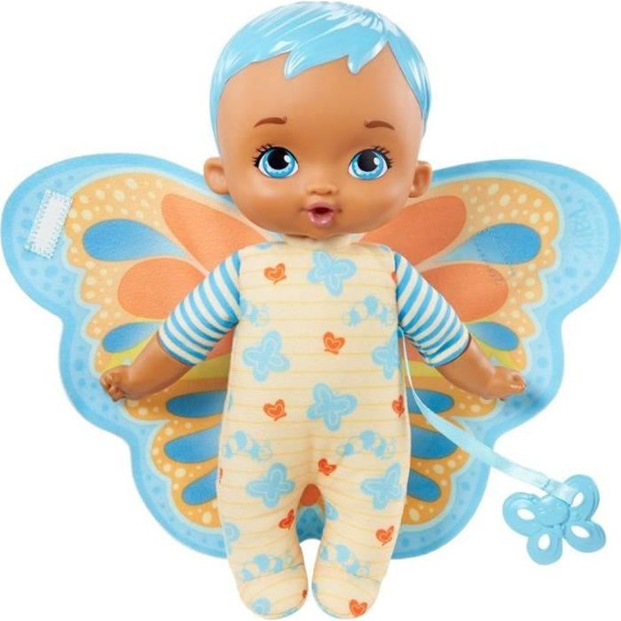 My Garden Baby - Mon Premier Bébé Papillon, bleu, 23 cm, corps souple avec ailes en peluche - Poupée / Poupon - Dès 18 mois