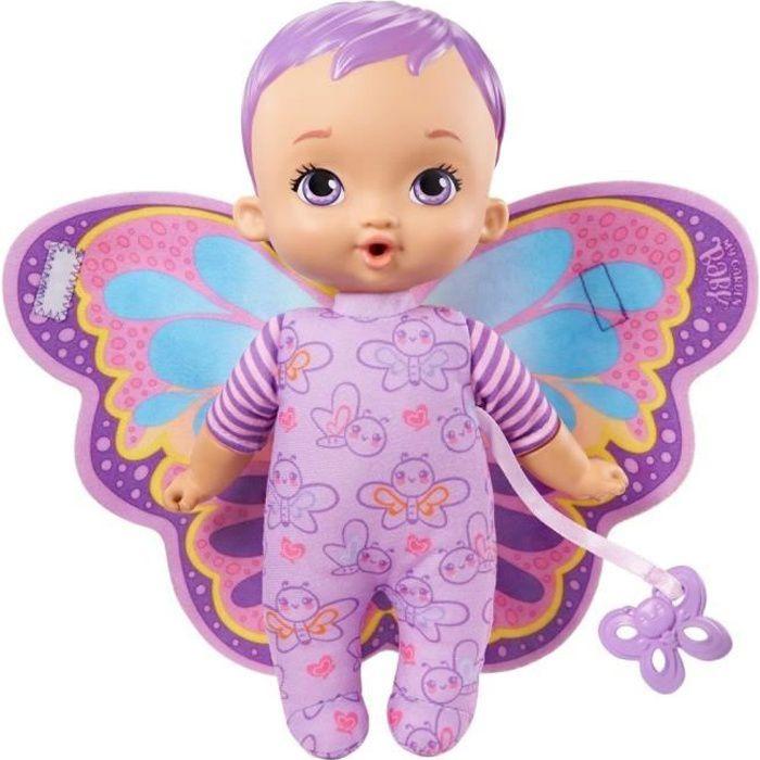 My Garden Baby - Mon Premier Bébé Papillon, violet, 23 cm, corps souple avec ailes en peluche - Poupée / Poupon - Dès 18 mois