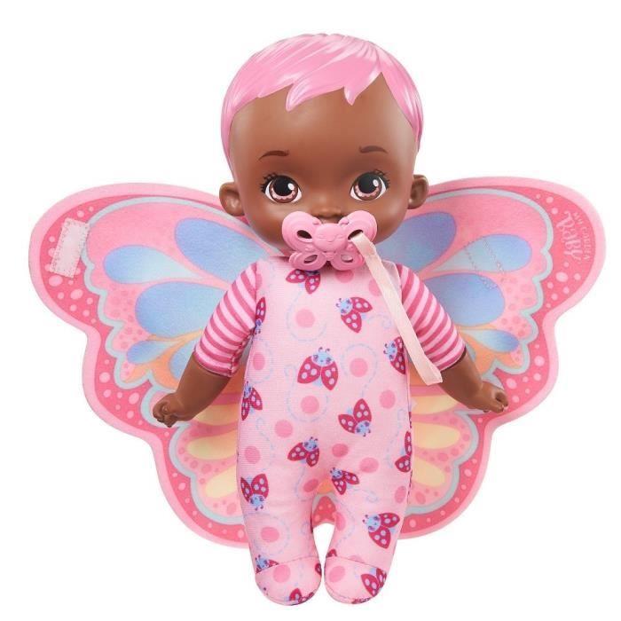 My Garden Baby - Mon Premier Bébé Papillon rose, 23 cm, corps souple avec ailes en peluche - Poupée / Poupon - Dès 18 mois