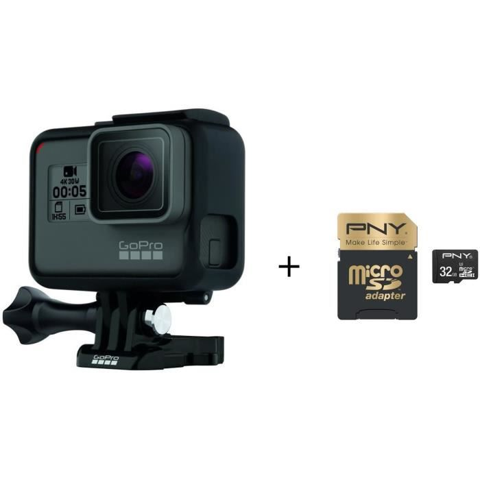 Pack GOPRO HERO 5 BLACK + Carte Mémoire PNY Elite Performance Micro SDHC 32 Go