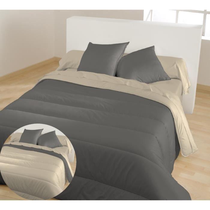 BLEU CALIN Couette chaude bicolore Graphite / Chamois 140x200 cm