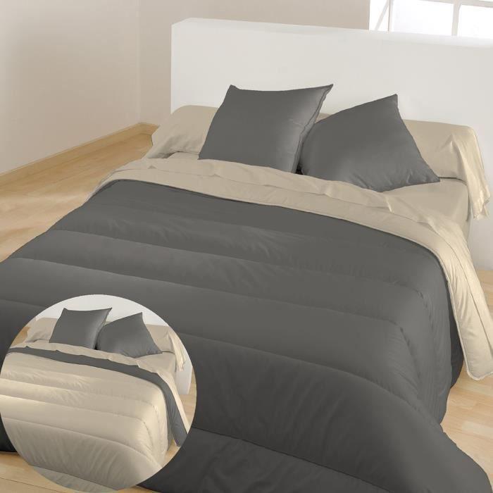 BLEU CALIN Couette chaude bicolore Graphite / Chamois 220x240 cm