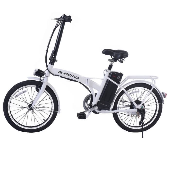 e road v lo electrique pliant t bike 20 blanc 25 km h autonomie 25 35 km. Black Bedroom Furniture Sets. Home Design Ideas