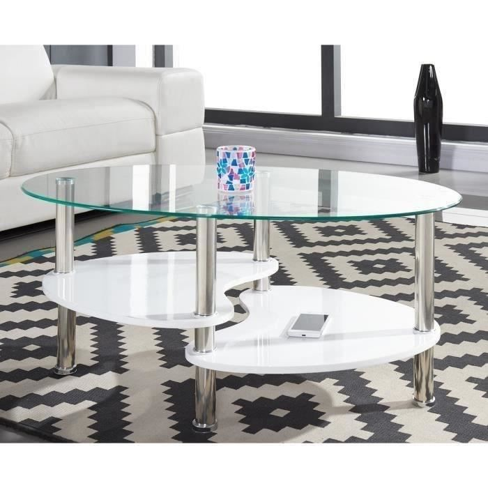 SILVA Table basse 90 cm Laqué blanc brillant