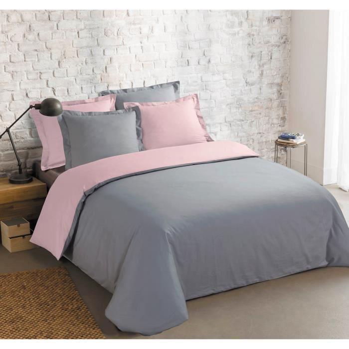 VISION Parure de couette bicolore 100% coton - 1 housse de couette 220 x 240 cm + 2 taies 65 x 65 cm - Gris et rose