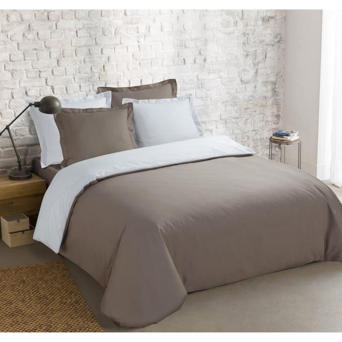 VISION Parure de couette bicolore 100% coton - 1 housse de couette 220 x 240 cm + 2 taies 65 x 65 cm - Gris taupe et blanc