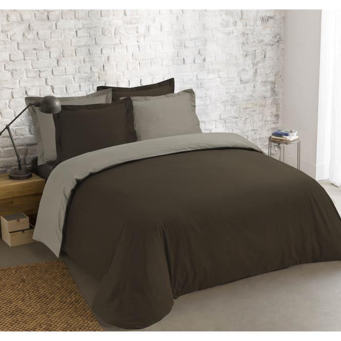 VISION Parure de couette bicolore 100% coton - 1 housse de couette 240 x 260 cm + 2 taies 65 x 65 cm - Marron et gris taupe