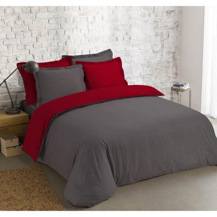 VISION Parure de couette bicolore - 1 housse de couette 240 x 260 cm + 2 taies d'oreiller 65 x 65 cm - Gris anthracite et rouge