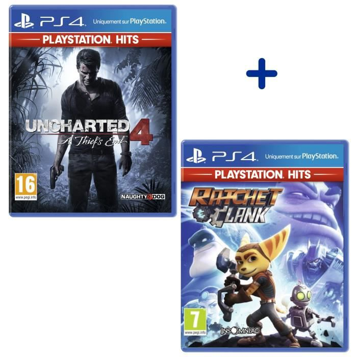 Pack 2 Jeux PS4 PlayStation Hits : Uncharted 4: A Thief's End + Ratchet & Clank