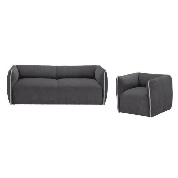 MOTIVHOME Canapé 3 places + fauteuil - Tissu anthracite et gris - Contemporain - L 195 x P 80 x H 70 cm - CLIO