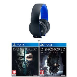 Micro-casque Sony Sans Fil Stéréo 2.0 PS4, PS3, PS Vita + 2 Jeux : Dishonored 2 + Dishonored Definitive Edition (DLC)
